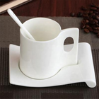 High quality fine bone china white porcelain mug and saucer royal blank white afternoon tea mug