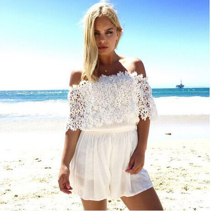 7aa1f1aa84 Buy Women White Beach Jumpsuit Summer Stylish Blanco Catsuit Party Bandage  Short Playsuit Backless Jumpsuits Romper S-L in Cheap Price on Alibaba.com