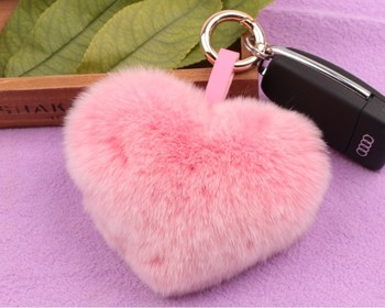 5b664f306c Customized real rabbit heart shaped fur pompoms keychain pom pom keychain  car key chain