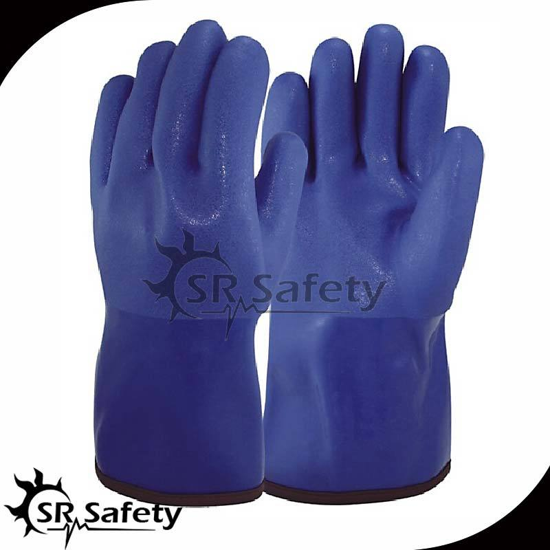 SRSAFETY 2016 NEW blue PVC dipping chemical resistant long cuff work glove,cleaning gloves