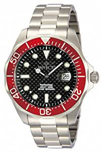 Invicta Mens Pro Diver Black Carbon Fiber Dial Stainless Steel Bracelet Red Bezel Watch 12565