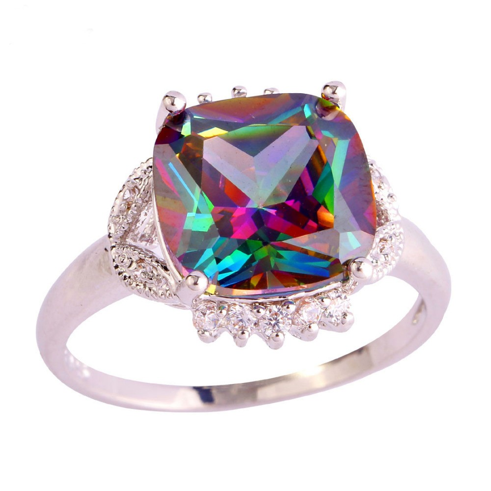 Sjae031 Sj Single Stone Rings Design Big Rainbow Gemstone Brass ...