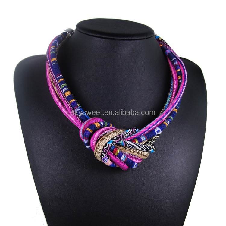 skysweet fabric knot shaped multi layers bold chunky necklace jewelry(pr1629)