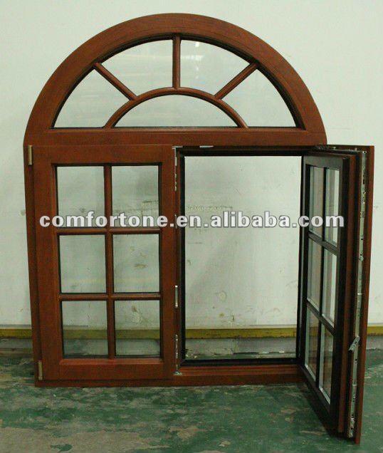 Dise o de ventana enrejada con madera y arco con for Ventanas de aluminio con marco de madera