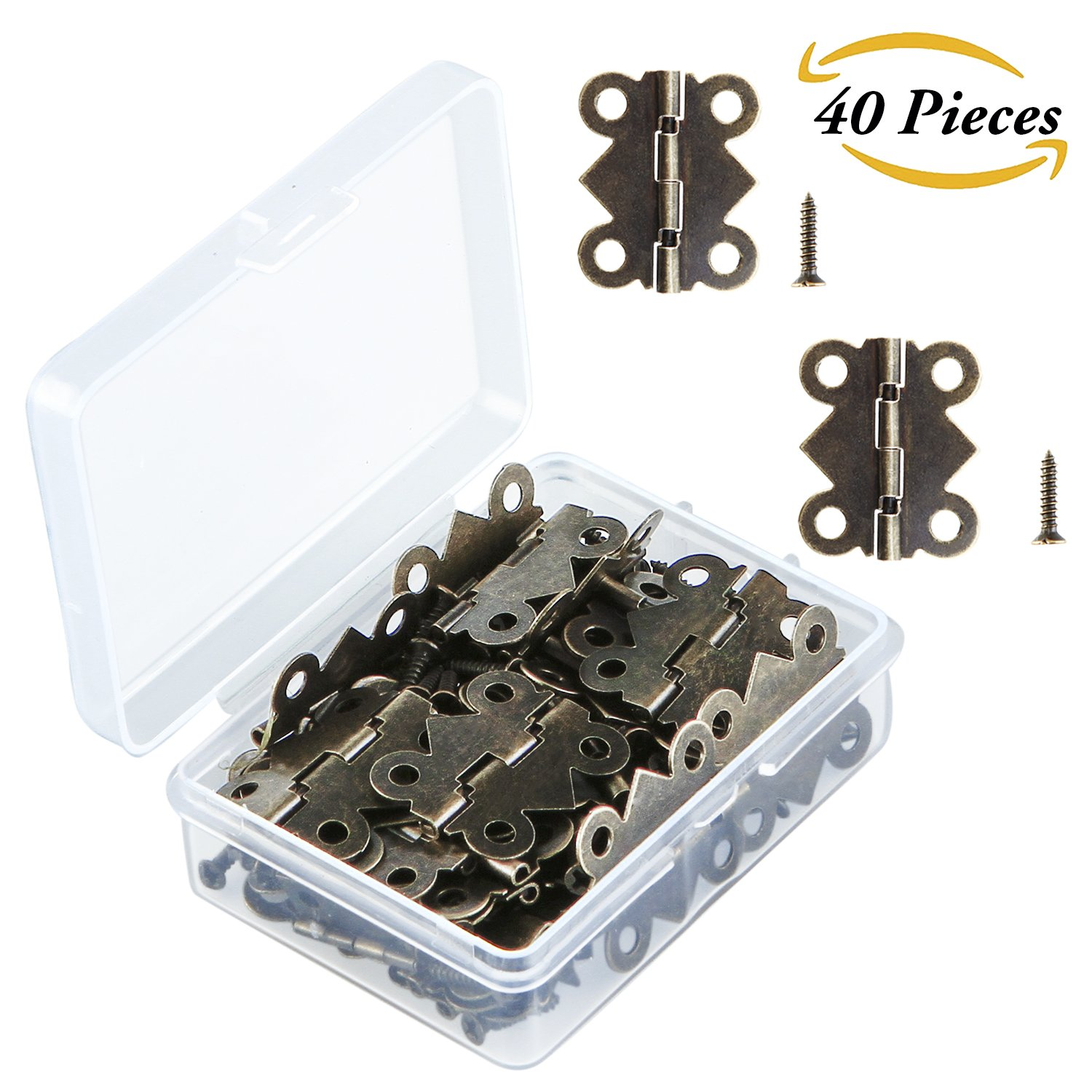 Nice Get Quotations · Aneco 40 Pieces Antique Brass Butterfly Mini Hinges Retro  Butt Hinges With 160 Pieces Replacement Hinge