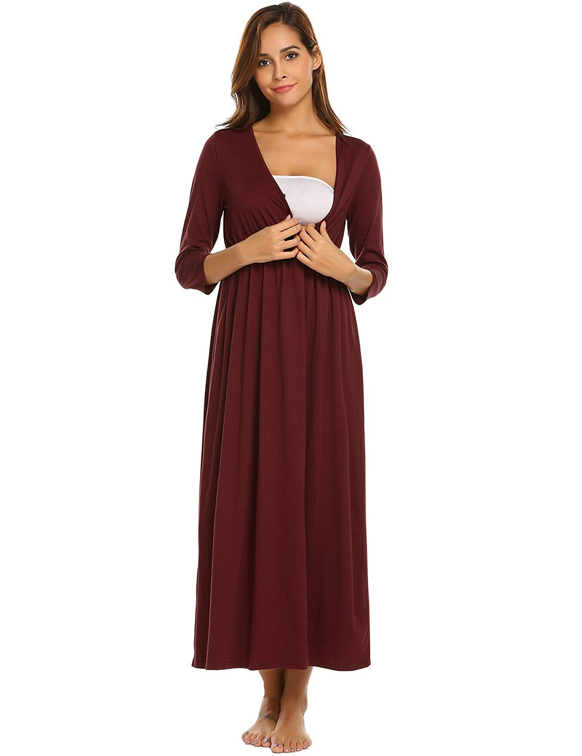 Get Quotations · Skylin Cotton Nursing Nightgown Women V-Neck 3 4 Sleeve  Solid Wraped Ruched Maternity 8cebf613a