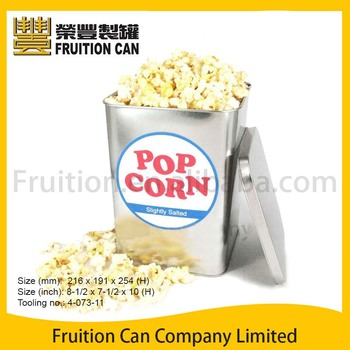 Large Square Popcorn Tin With Slip Lid Buy Metal Cookie Tins With