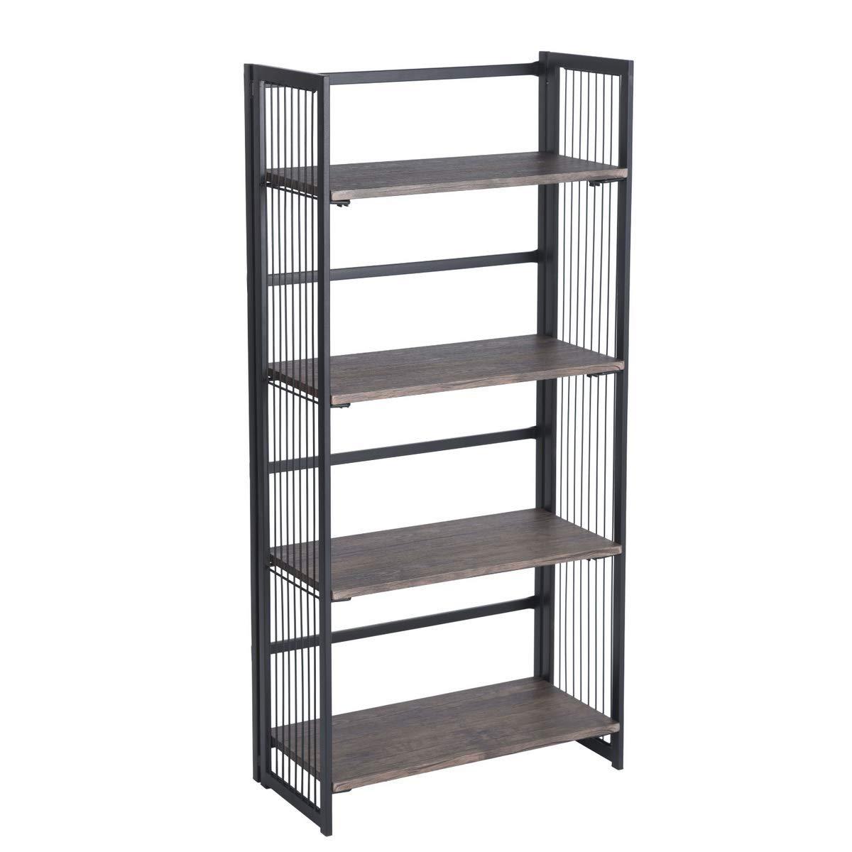 None Vintage Dark Brown Black Metal Frame Wire Design 4 Tier Bookshelf Bookcase Display