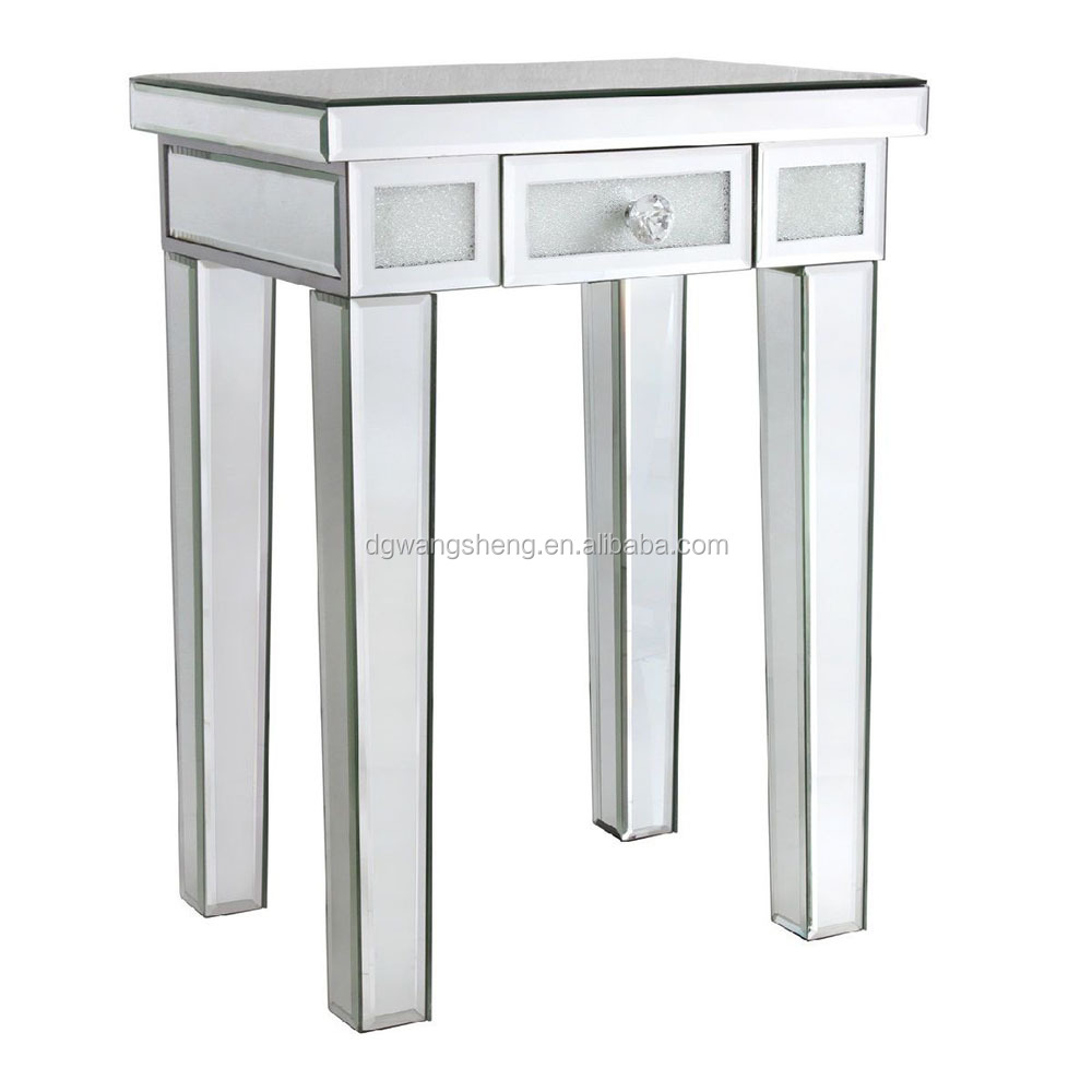 Contemporary Mirrored Bed Side Table with Crystal Filled Inset Glass
