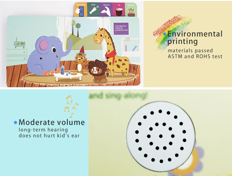 Customized voice recordable baby sound book for learn