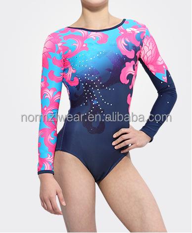 Ombre Sublimation Mystique g ymnastic Leotards for Girls Long Sleeved Gymnastic Training Dancewear Leotards
