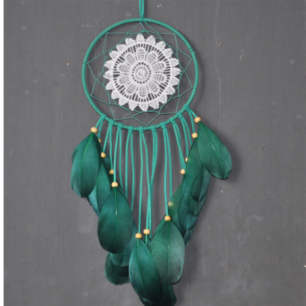 3517 new green color indian wall hanging decoration lace dream cater feather windchime pendant gift