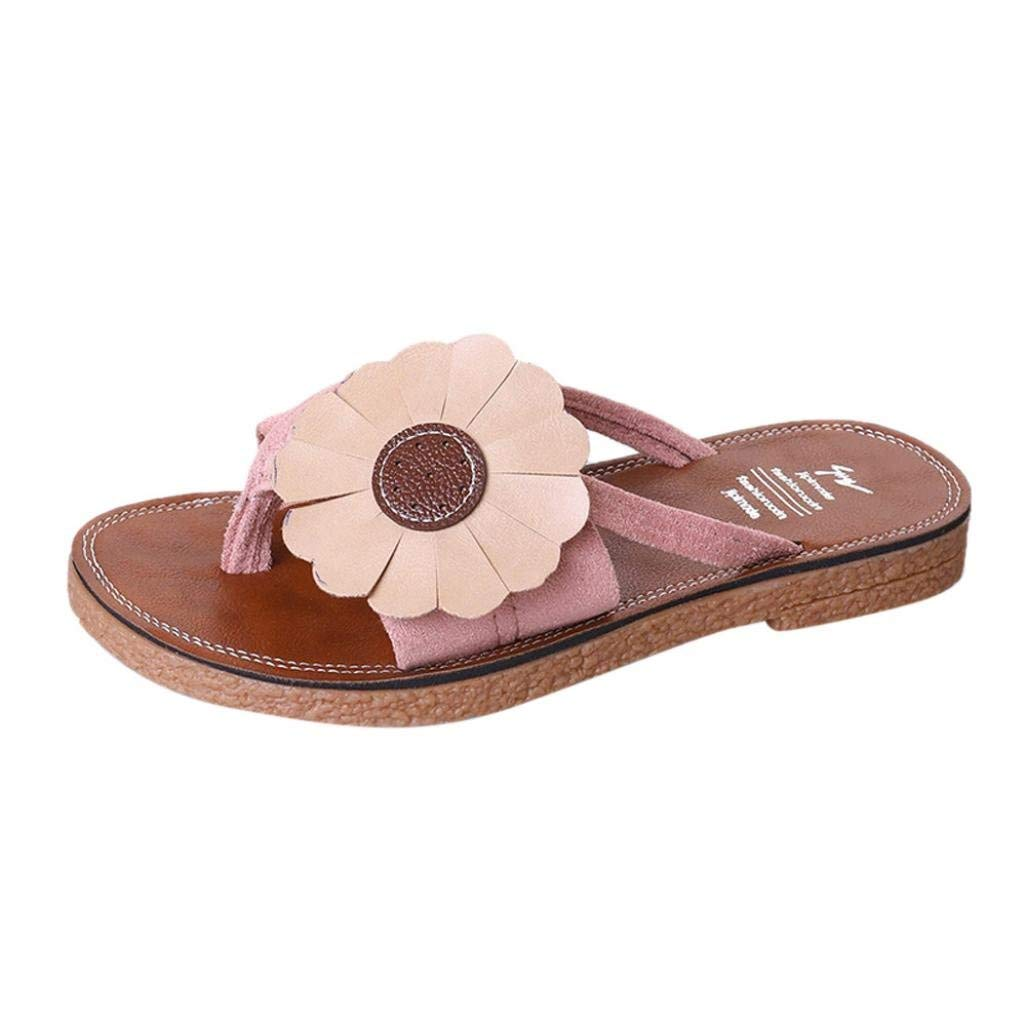 a42474ba1464 Get Quotations · Women Flip-Flop Sandals Thong House Shoes Flat Bow Slides  Slippers Beach Home Sandals