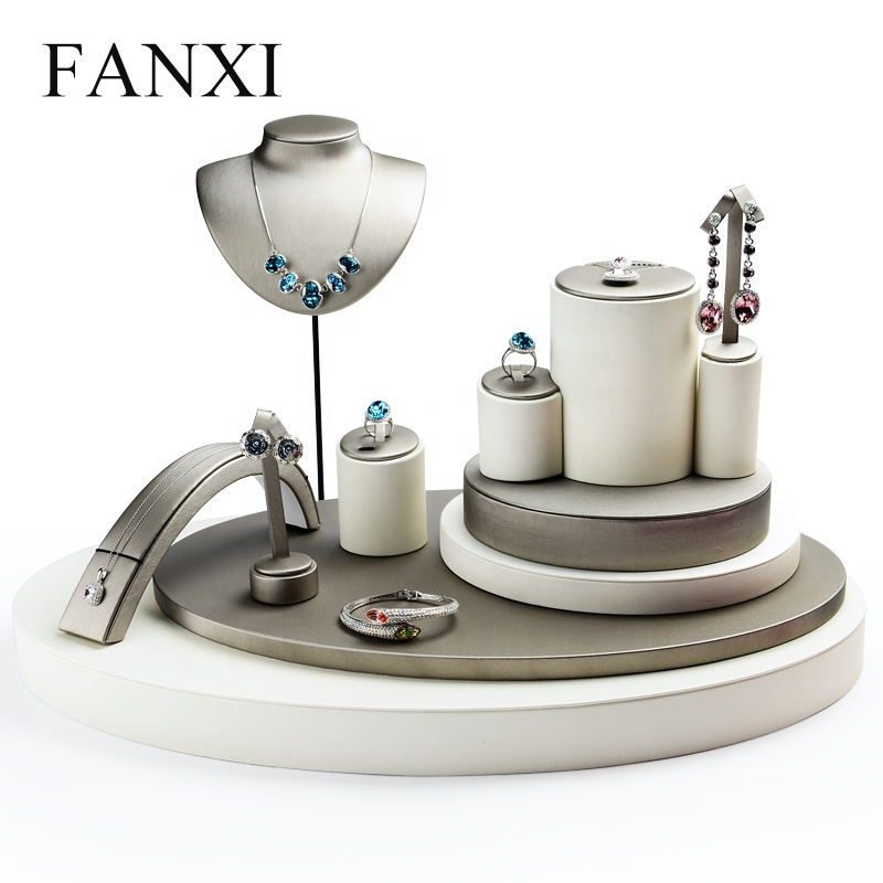 FANXI Jewellery 숍 Counter 디스플레이 Set 대 한 Bracelet Necklace 링 참가 주최자 홀더 Custom Leather Jewelry Display