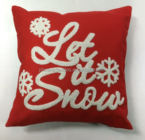 Christmas decorative crewel embroidery pillow