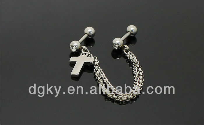 Surgical stainless steel ear piercing Cross ear chain body piercing