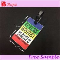 2014 travel 3D soft PVC luggage tag with loop strip