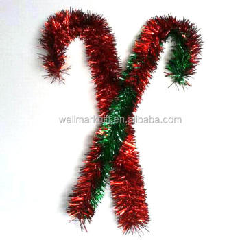 24 inch foil pvc tinsel christmas candy cane - Tinsel Christmas Decorations