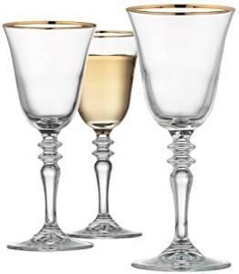 Home Essentials & Beyond 9480 7 oz. Cellini White Wine Glass with Gold Rim by Home Essentials & Beyond