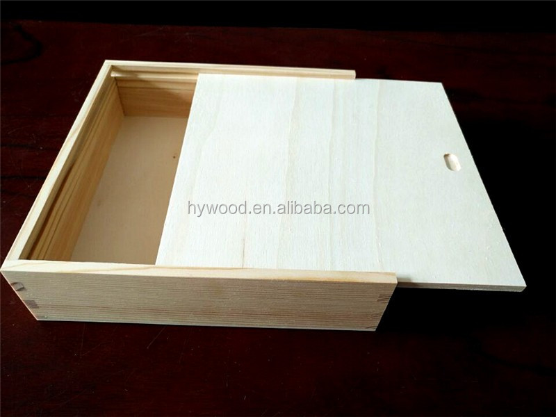 low price cheap pine paulownia wood small unfinished sliding lid wooden gift box wholesale