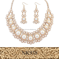 2016 elegant gold round pearl necklace and earring set baroque pearl necklace