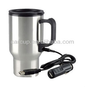 heated travel mug with car and USB plug