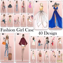 Transparent Tpu Fashion Girl Cases Cover For iphone 6 6s clear with design Coque Fundas
