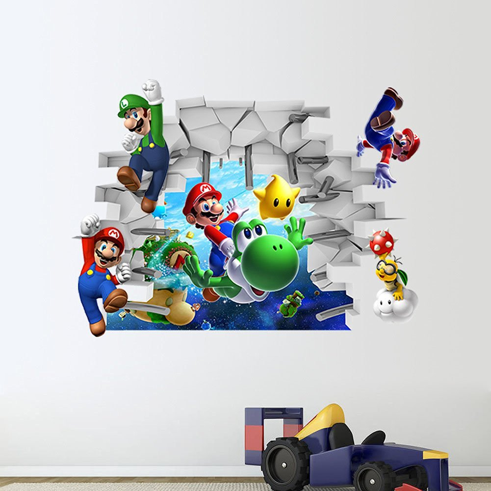 ClothingLoves Super Mario Build a Scene Peel and Stick Wall Decals (Multi Color)