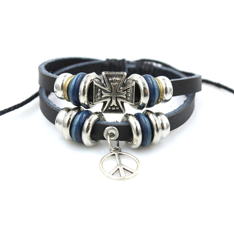 Cheap Men Jewelry Modern Cross Decorated Layered Chain Friendship Bracelet For Men