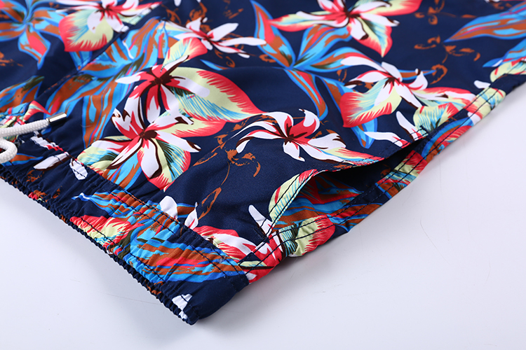 New Product Navy 100% Polyester Lightweight Big Flower Pattern Breathable Sport Men Beach Short