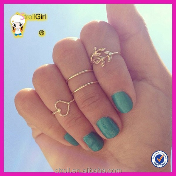 Big Sale Midi Ring Set In Latest Gold Finger Rings With Heart