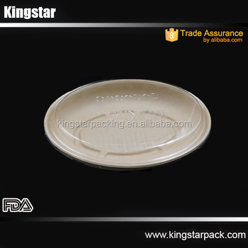Oval PET Anti-fog dome lid for bagasse food packaging bowl