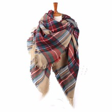 Women acrylic scarf plaid pattern, fashion square winter scarf