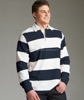 """0060b751 Unisex Heavy Cotton Blank Polo Style Classic Rugby Shirt/4"""" yarn-dyed  rugby"""