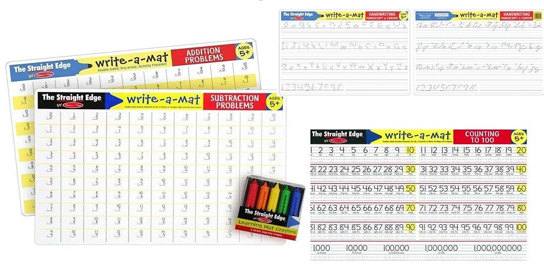 Addition+ Subtraction+ Handwriting+ Counting to 100 Placemats - 4 x Learning Mats for age 5+ group with bonus Learning Mat Crayons