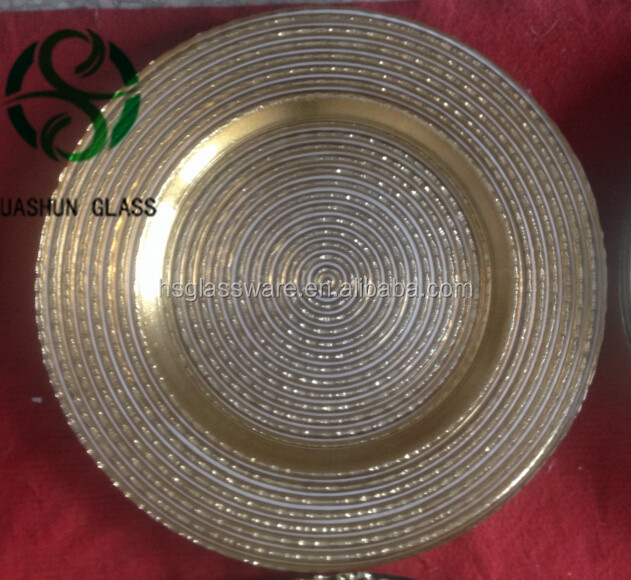 33CM Round Gold Glitter Glass Mirror Glass Charger Plate Candle Plate Centre Piece Wedding