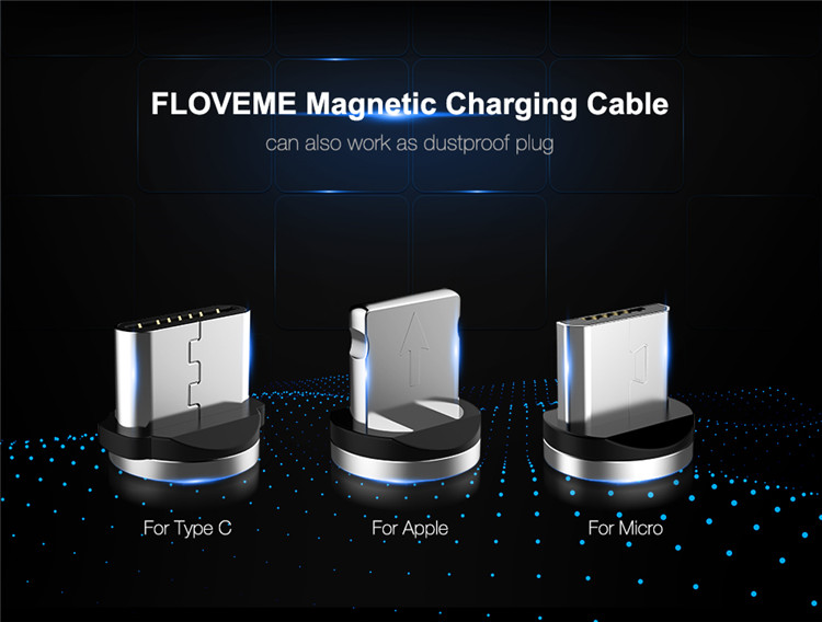 Free Shipping Mobile Phone Charger Cable FLOVEME Cell Phone Charging Magnetic USB Cable