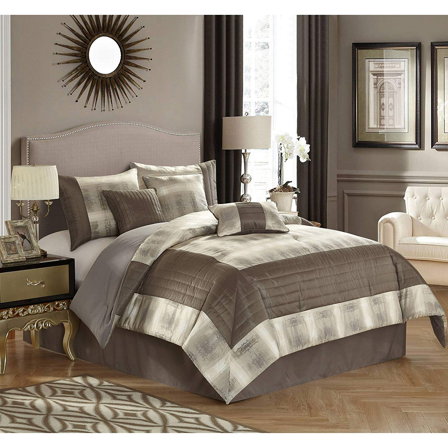 Grey Stripe 7-Piece Bedding Comforter Set, Full/Queen Size