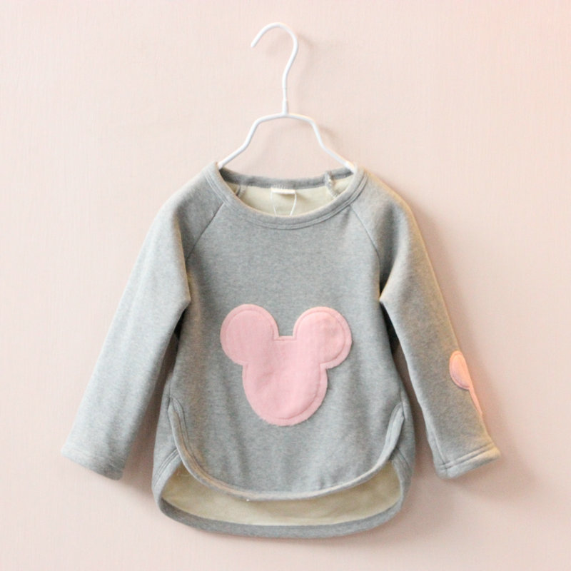 Winter fashion plus velvet t shirts for girls cotton girl t shirt cartoon children t shirts