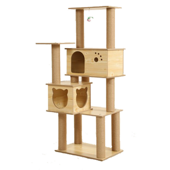 Wood Whole Cat Tree House Scratching Post