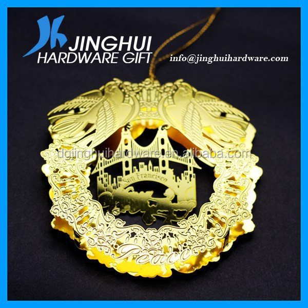 High quality etching cheap christmas ornament decoration