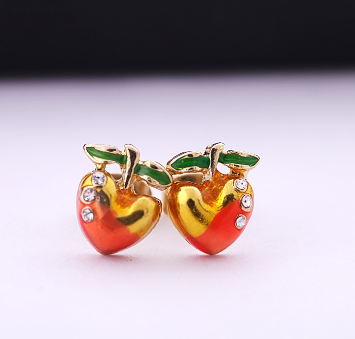 ed0092 Qingdao Kiss Me New Styles Fashion Charm Cute Red Cherry Enamel Stud Baroque Korea Earring