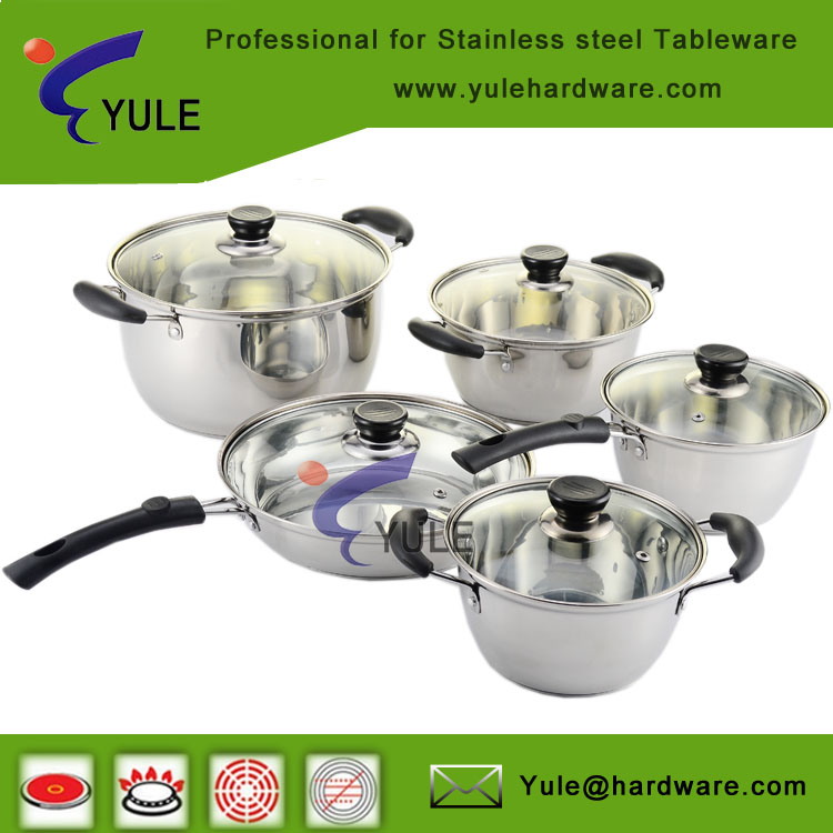Factory wholesale non-stick stainless steel kitchenware 10 pcs cookware set