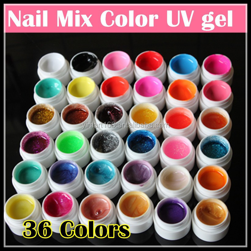 Yimart Salon Professional Nail Uv Lamp Gel,36colors Nail Mix Pure ...