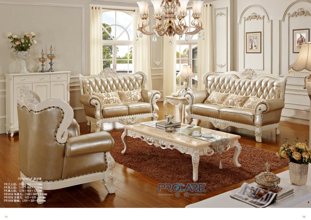 Luxury European Royal Style Golden Oak Solid Wood Leather