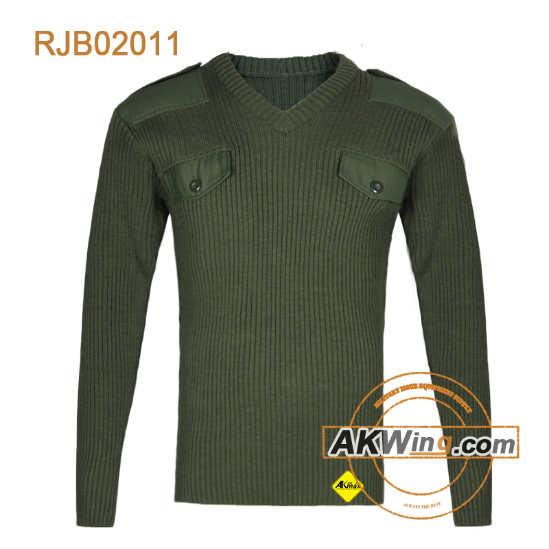 Olive green crewneck police armed forces men military sweater/Army Pullover