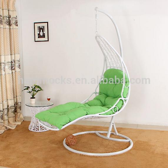 Outdoor Rattan Swing Hanging Egg Chair With Stand For Bedroom