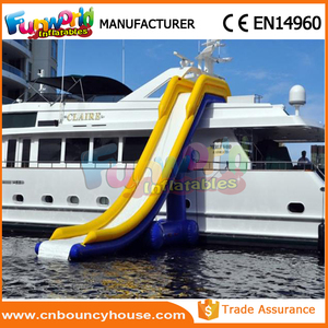 Fun water slide for yacht inflatable floating water slide