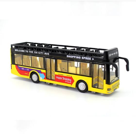 1//32 Scale Double-Decker 105 City Bus Alloy Diecast Vehicles Light Sound Car Toy