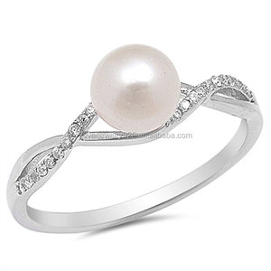 Clear CZ Simulated Pearl Infinity Knot Ring New .925 Sterling Silver Sizes 5-10